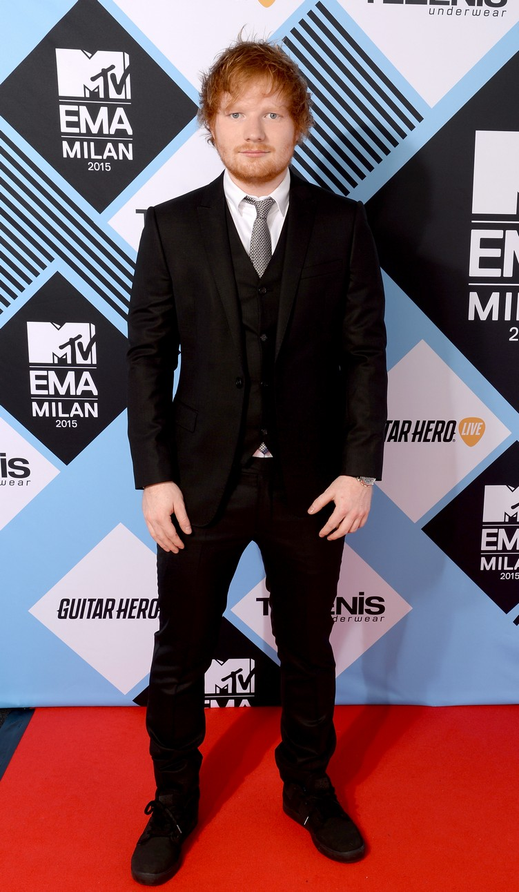 MILAN, ITALY - OCTOBER 25: (EXCLUSIVE COVERAGE) Host Ed Sheeran poses for a portrait before the MTV EMA's at the Mediolanum Forum on October 25, 2015 in Milan, Italy. (Photo by Dave Hogan/MTV 2015/Getty Images for MTV) *** Local Caption *** Ed Sheeran